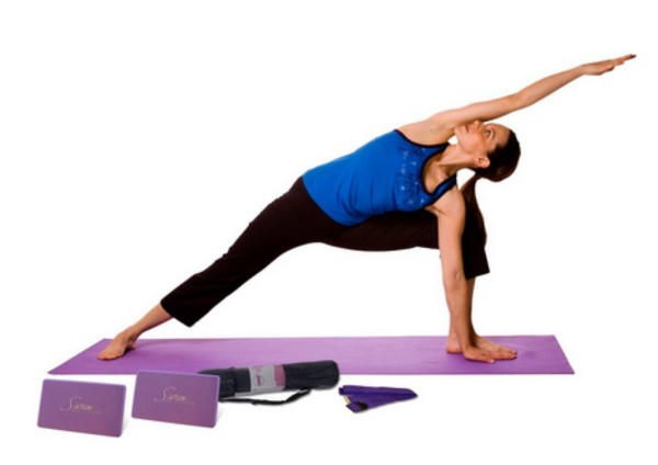 yoga meditation beginners can do with yoga blocks and straps for yoga poses...