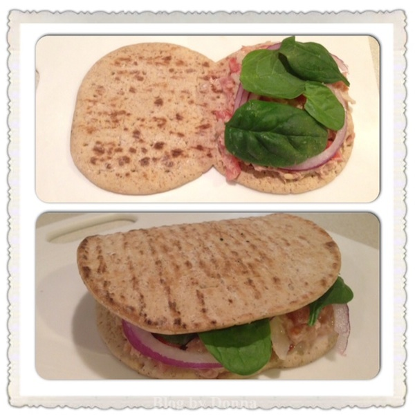 FinishedTunaFlatbread Hungry Girl FoldIt Flatout Flatbread Hot Sandwich & Cold Sandwich Recipe #FlatoutHot