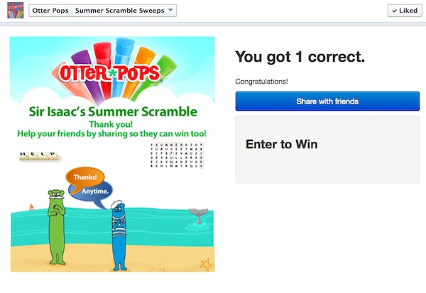 Otter Pops Sweepstakes Screenshot 3