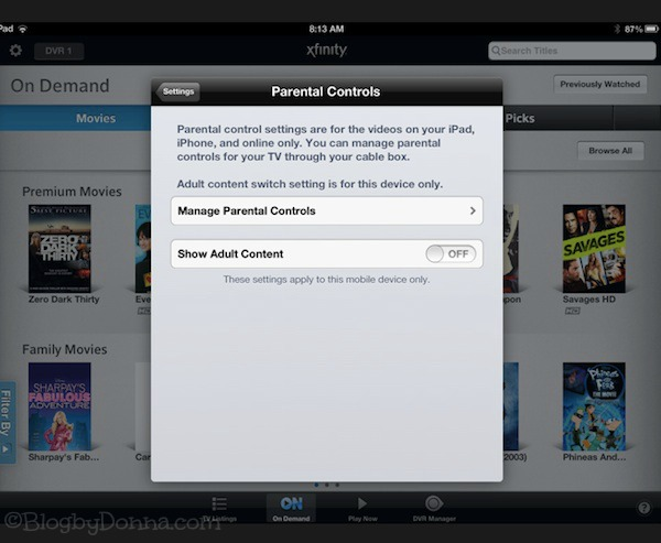 Parental Controls on Xfinity On Demand