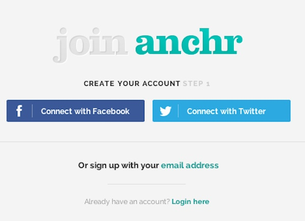 anchr signup