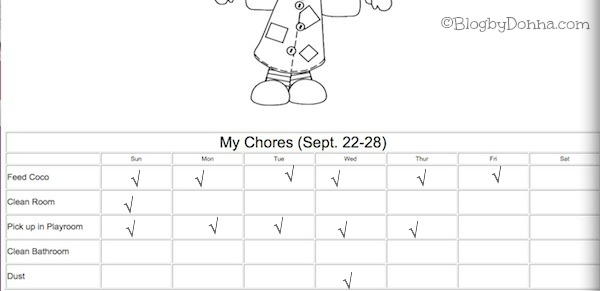 Codys Chore Chart 9 22 13 Keeping Your Home Clean with a Chore Chart & Bissell #sponsored