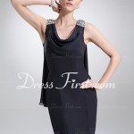 Sheath Cowl Neck Short Chiffon Cocktail Dress from DressFirst