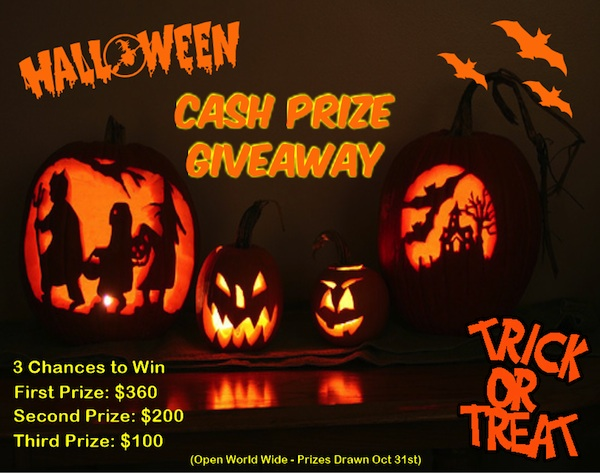 halloween giveaway  No Trick, Its A Treat   3 Chances to Win Cash #Halloween #Giveaway Ends 10/31