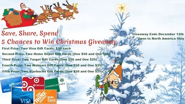 christmas giveaway Will You Save One, Share One, or Spend Both? – 5 Chances to Win Christmas #Giveaway