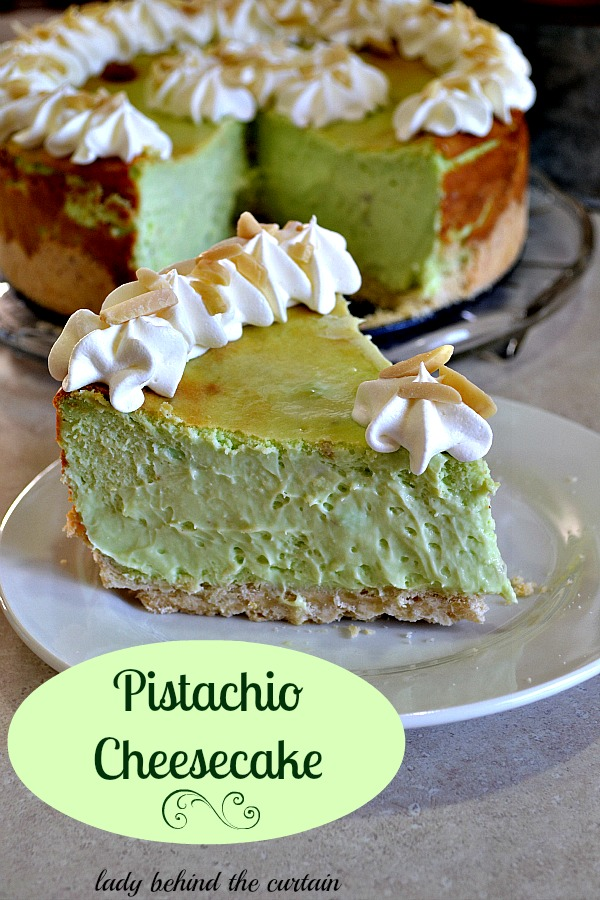 Pistachio cheesecake via lady behind the curtain
