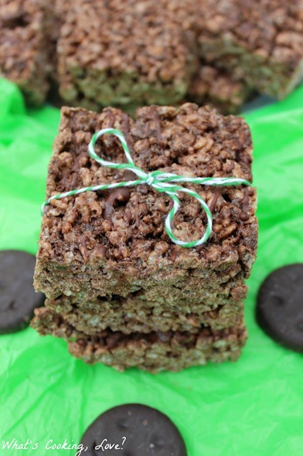 Thin Mint Rice Krispie Treats for St. Patrick's Day