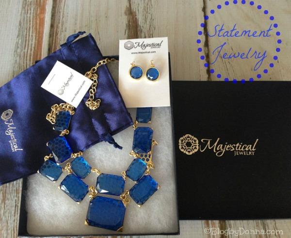 Majestical Jewelry Blue Statement Necklace with earrings