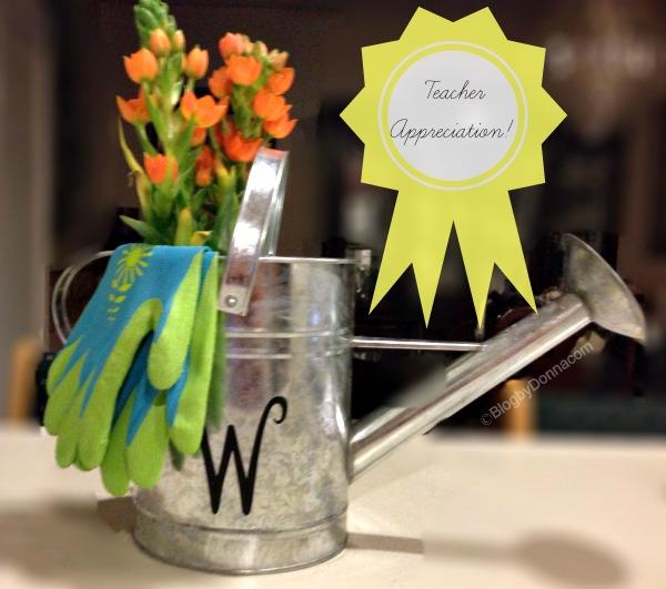 flower pot from a watering can teacher appreciation idea