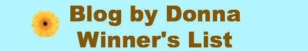 Blog by Donna Winner List
