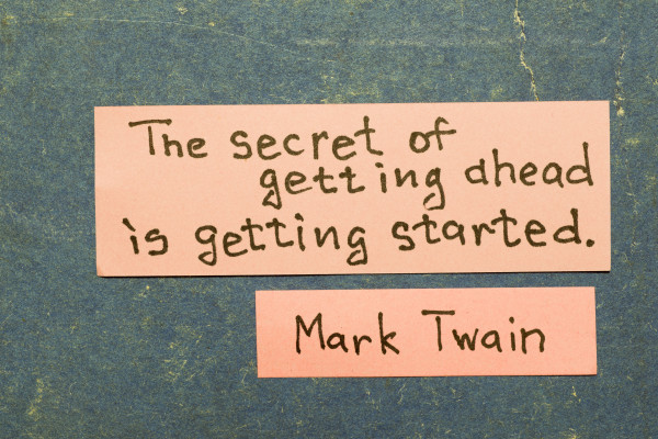 Getting started quote by Mark Twain working from home