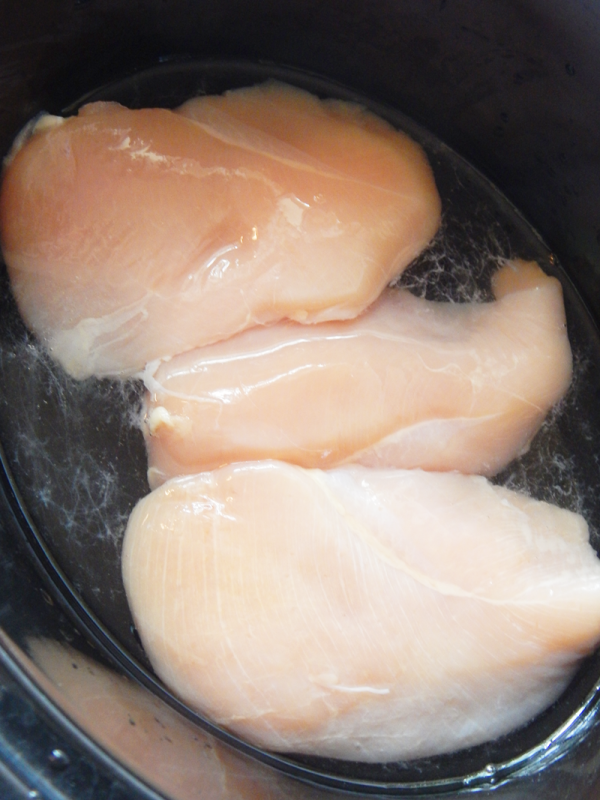 bbq chicken in the crock pot for lettuce wraps