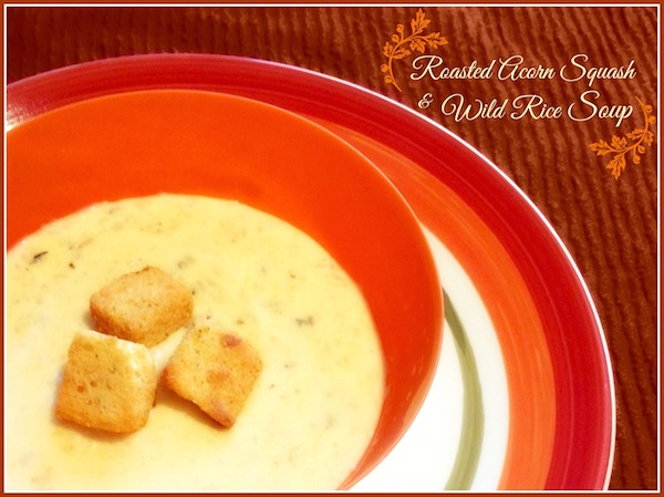 Roasted Acorn Squash Wild Rice Soup National Soup Month