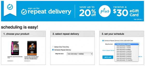 Petco Repeat Delivery program is easy as 1, 2, 3...