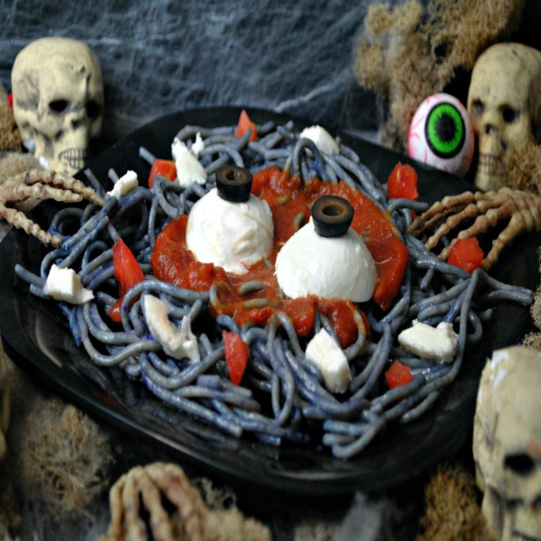 Zombie Pasta Recipe for Halloween or to eat while watching The Walking Dead Season 7 on October 23rd...