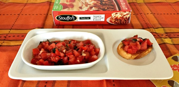 Stouffer's Lasagna with Meat Sauce and homemade fresh tomato bruschetta to balance your plate with a well-balanced frozen and fresh meal option...