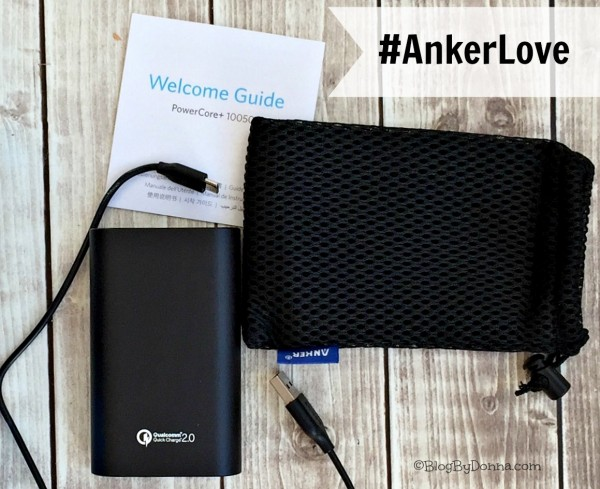 Anker PowerCore+ 10050 Portable Charger from Walmart great for bloggers, freelancers, and writers....