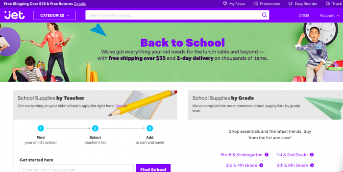 Back to school shopping at Jet.com #shoppurple