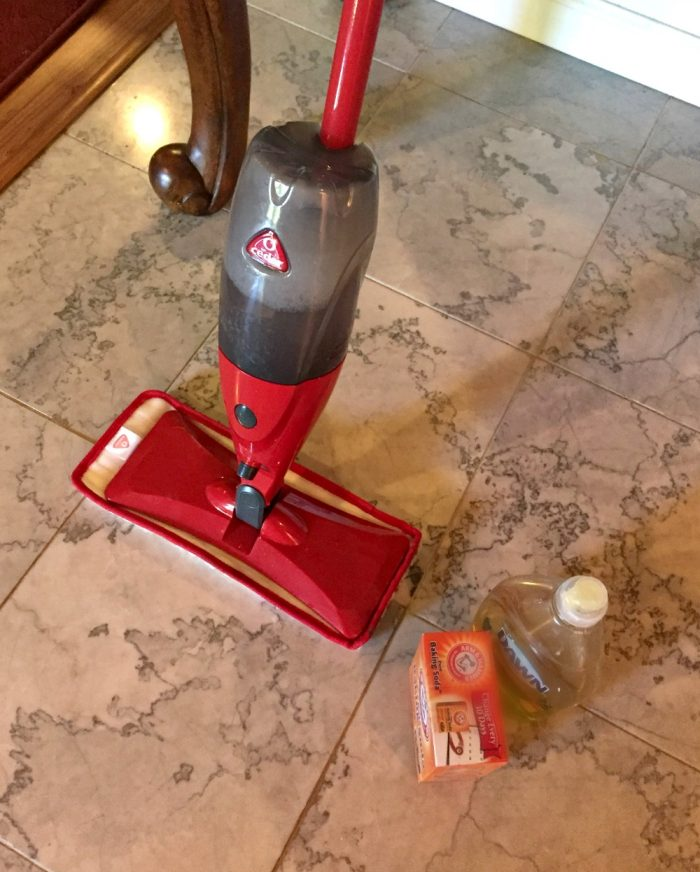 DIY cleaner for marble floors and O-Cedar ProMist mop