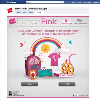 HanesPinkApp Send a Hanes Virtual Comfort Package & Support Breast Cancer Awareness