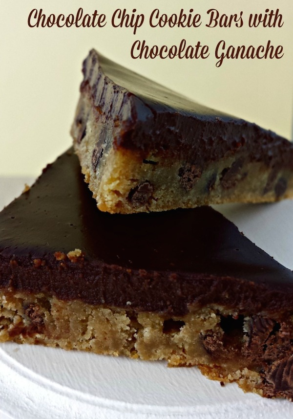 Chocolate Chip Cookie Bars with Chocolate Ganache Topping