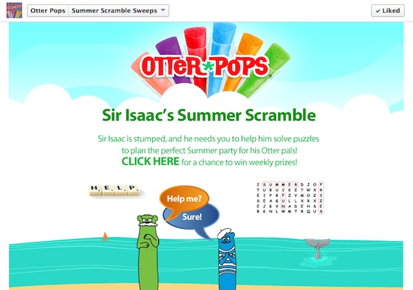 Otter Pops Sweepstakes Screenshot 1