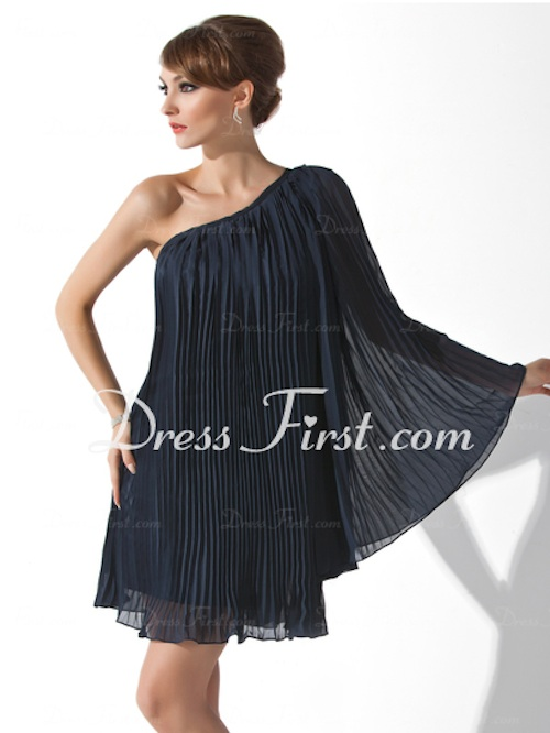 A-Line Princess On-Shoulder Short Chiffon Cocktail Dress from DressFirst