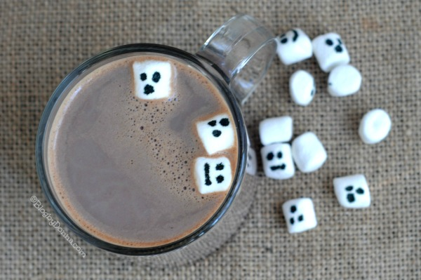 Spooky Hot Cocoa Recipe with Ghost Marshmallows.. the perfect Halloween or October beverage