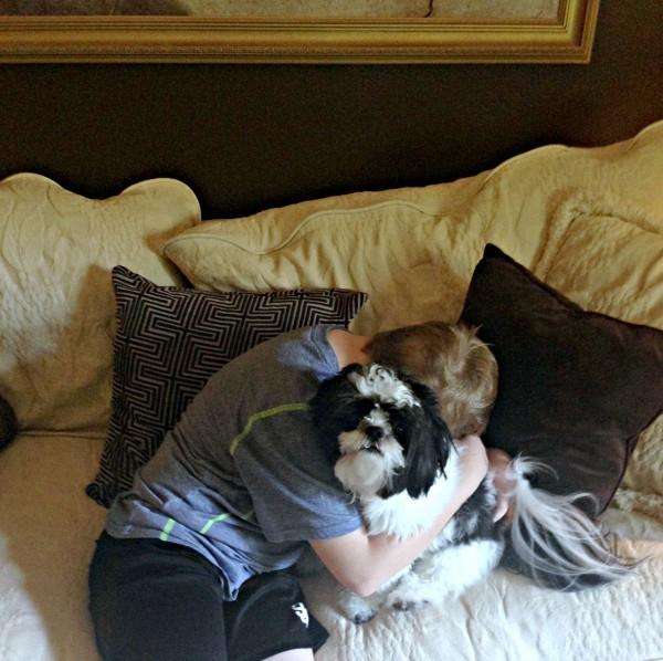 Cody hugging Baxter #NudgeThemBack