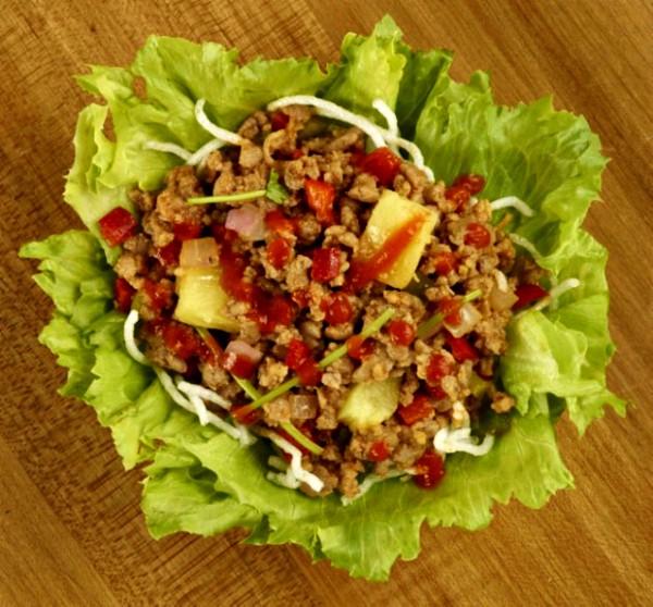 Sriracha Pineapple Pork Lettuce Wraps from Pei Wei
