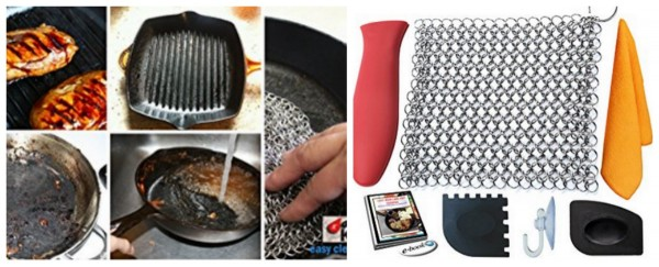 Best cast iron cleaner is this chainmail scrubber for cast iron skillets...