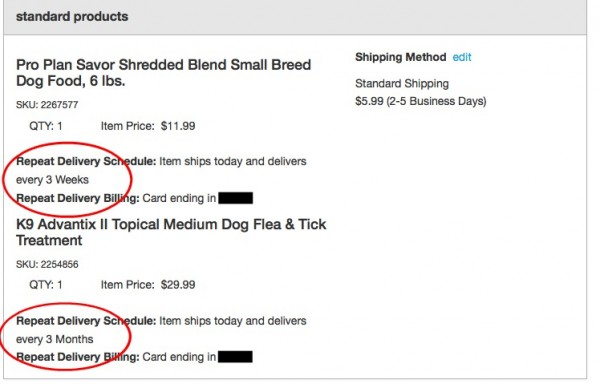 Select Repeat Delivery from Petco...