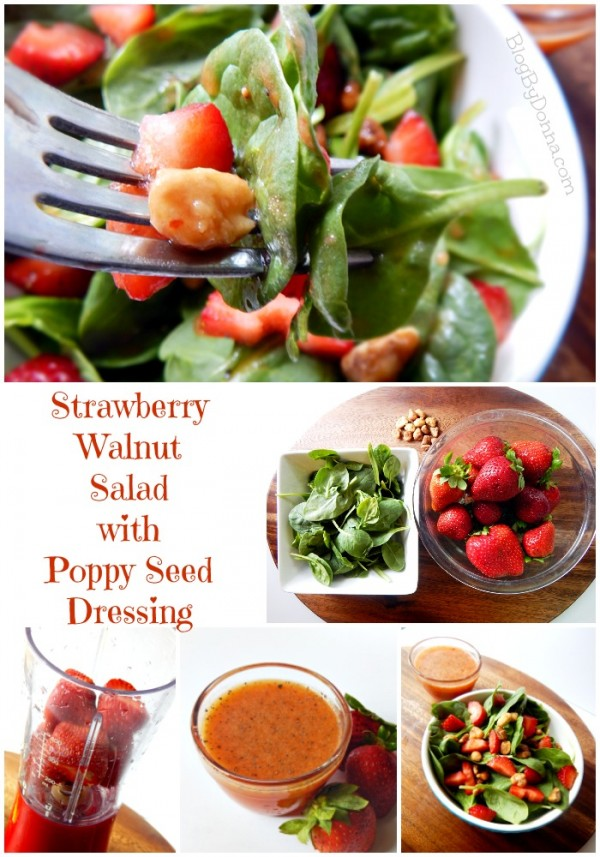 Strawberry Walnut Salad with a Homemade Poppy Seed Strawberry Dressing