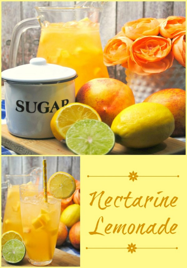 Homemade Nectarine Lemonade recipe for summer, cookouts, picnics, parties, and anytime...
