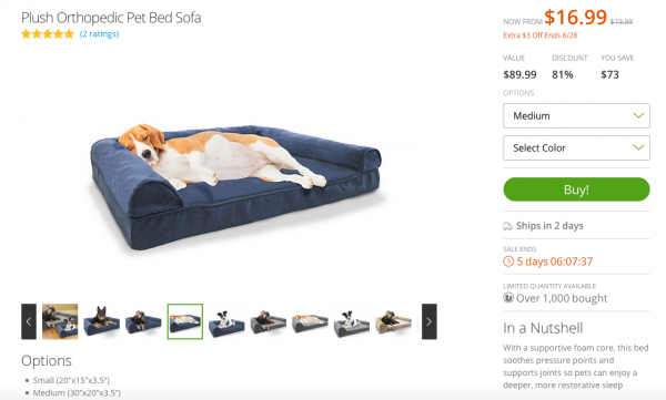 Groupon goods like pet beds for your dog...