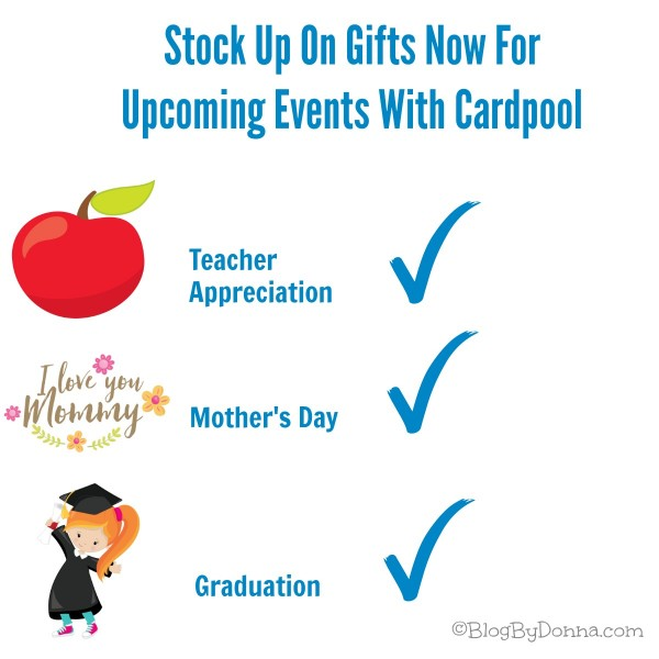 Stock up on gifts for upcoming events like graduations and Teacher Appreciation with Cardpool...
