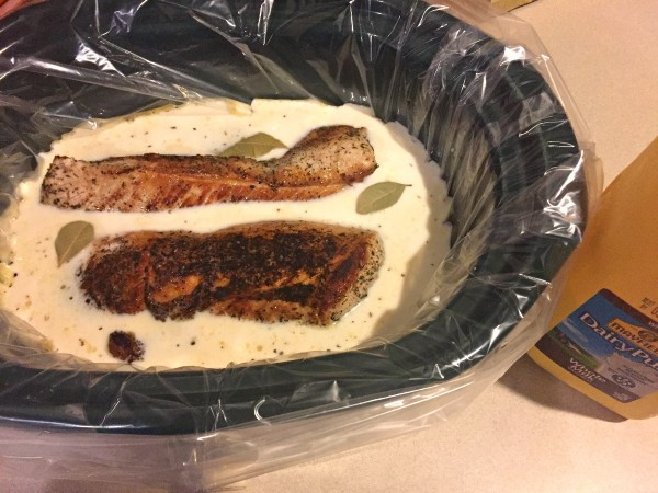 Pour milk in the slow cooker with the pork loin #DairyPureMilk