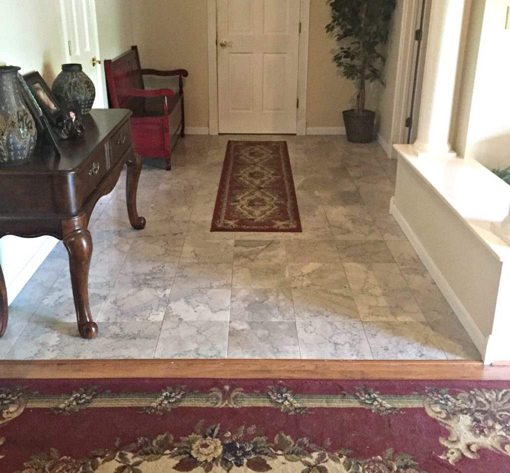 After mopping marble tile floors with the O-Cedar ProMist Microfiber Spray Mop