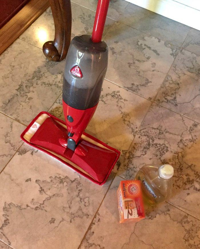 DIY cleaner for marble floors and O-Cedar ProMist mop