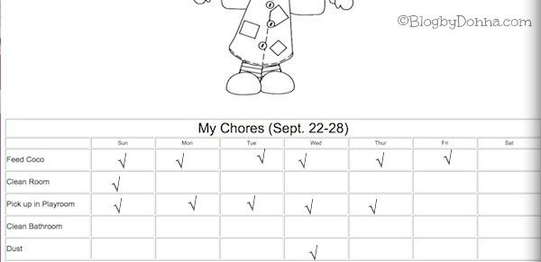 Codys Chore Chart 9 22 13