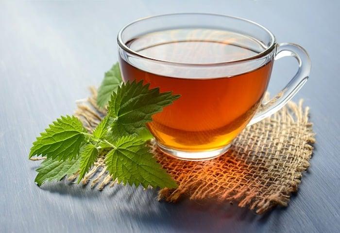 herbal tea glass of wine