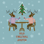 ugly Christmas sweater with reindeers graphic