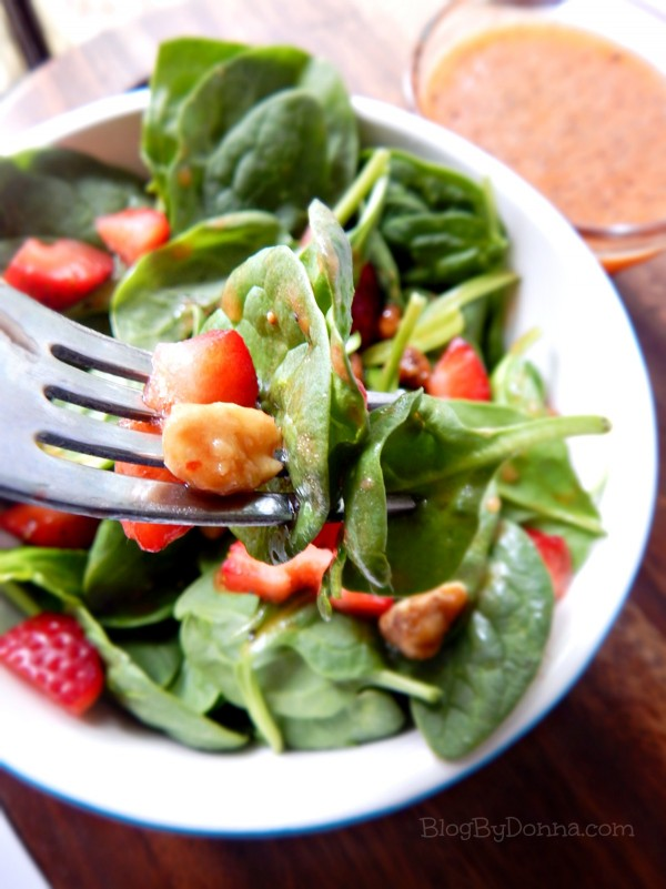 Strawberry Walnut Salad with a Homemade Poppy Seed Strawberry Dressing