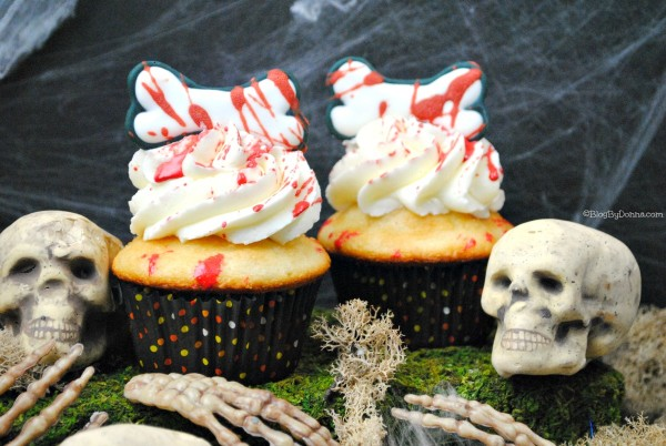 Bloody bones cupcakes recipe for Halloween or The Walking Dead
