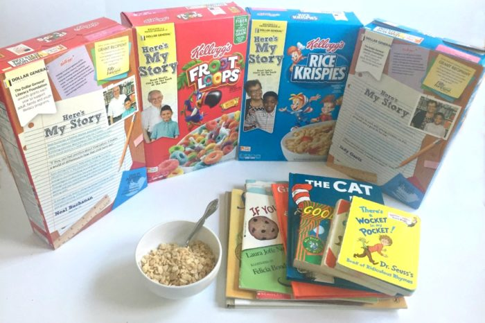 My son's favorite children's books with Kellogg's cereal from Dollar General Literacy initiative
