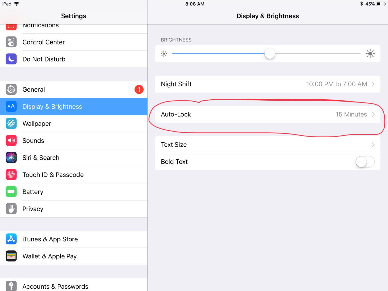 iPad Turning Off too soon