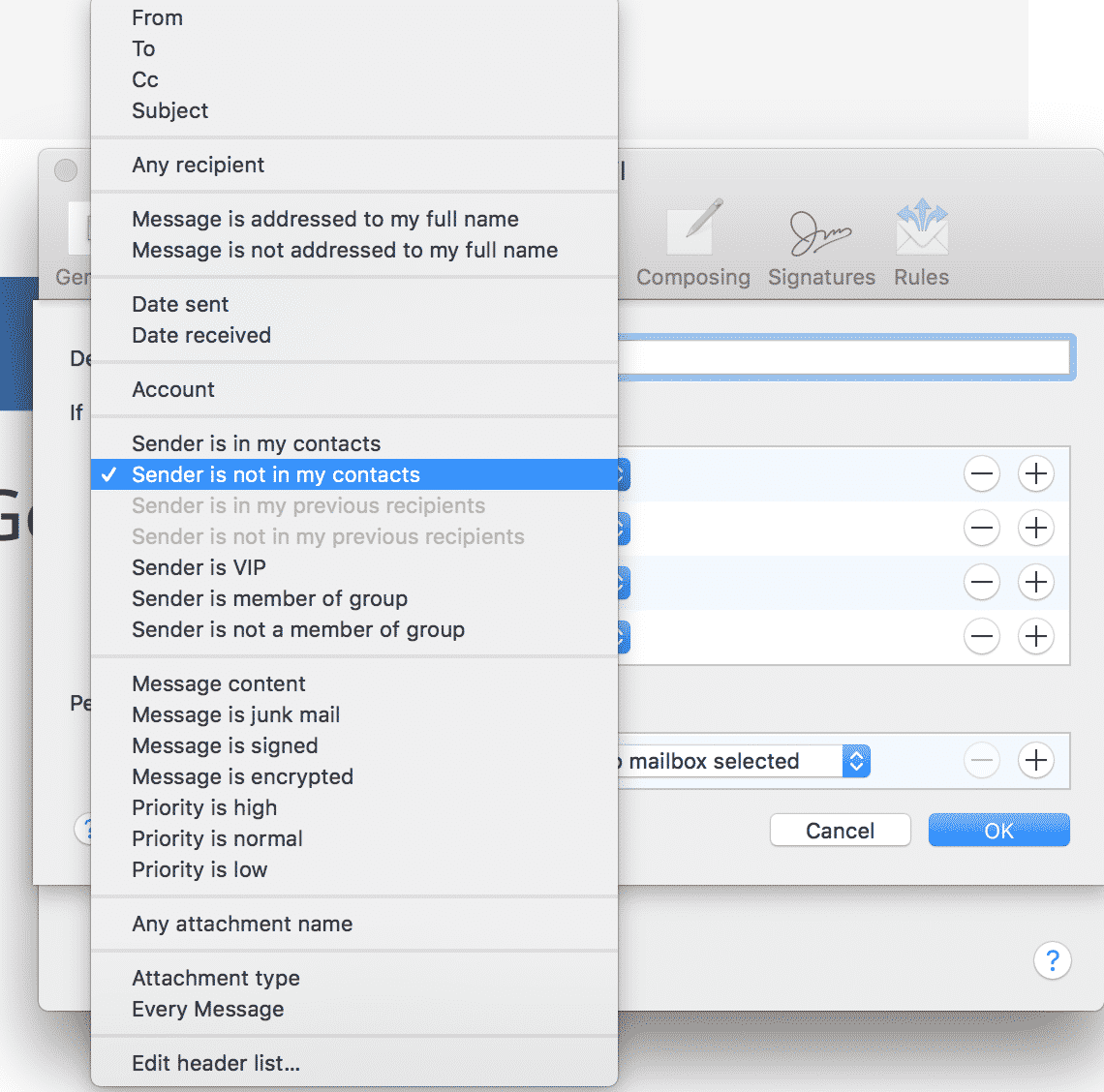 Mac Junk Mail Filtering Options
