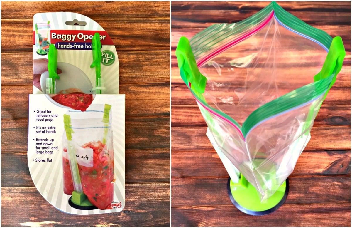 Baggy opener hands free holder for freezer meals like chicken salsa taquitos