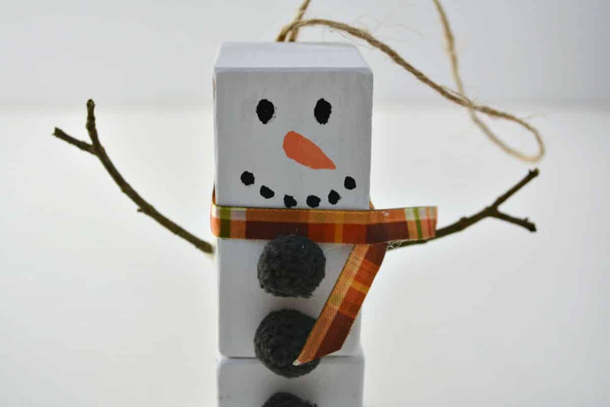 wood block snowman ornament step 7