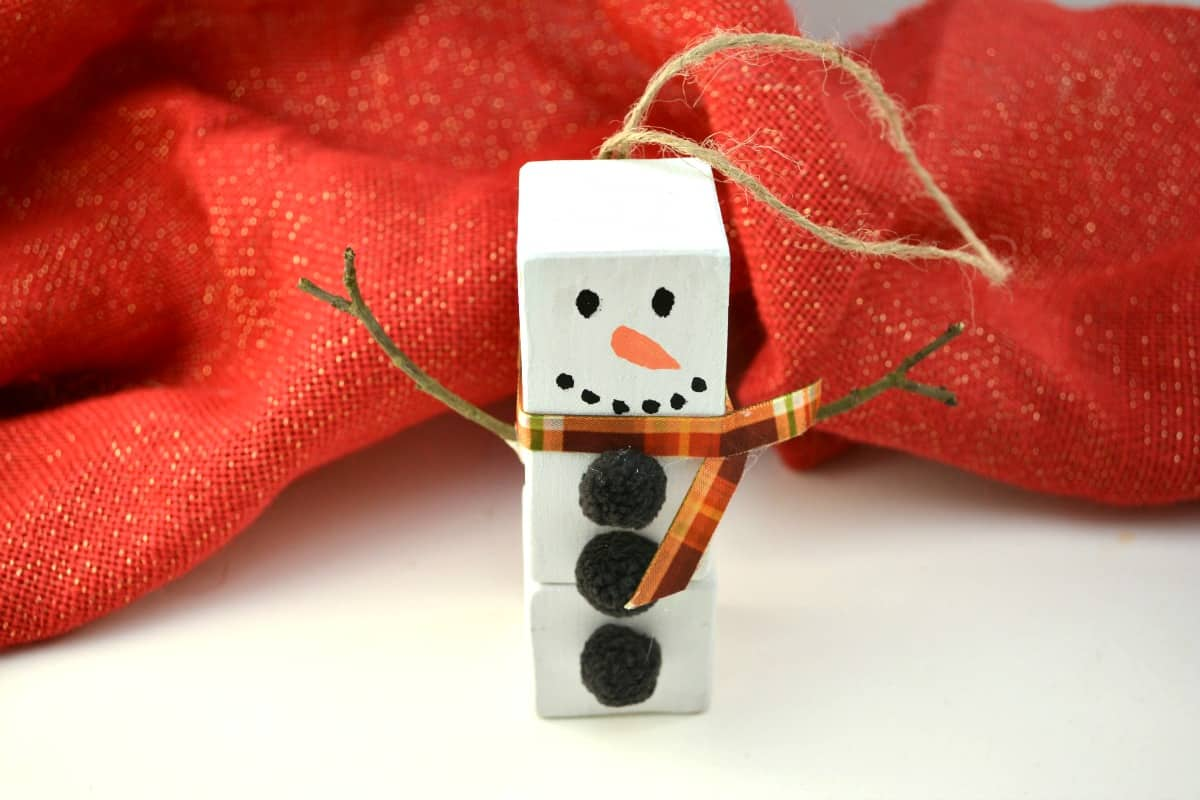 wood block snowman ornament
